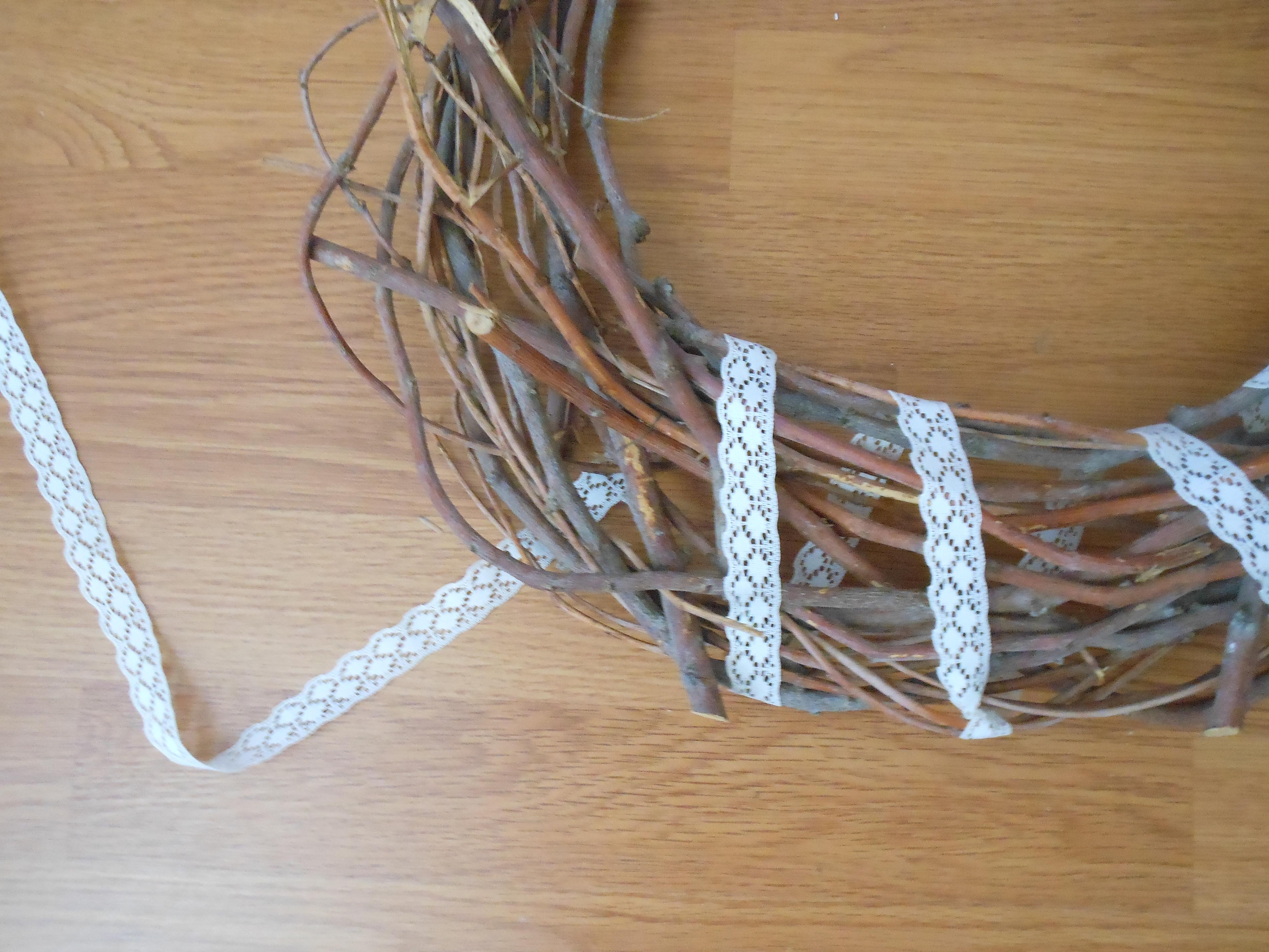 Wrap ribbon around the wreath