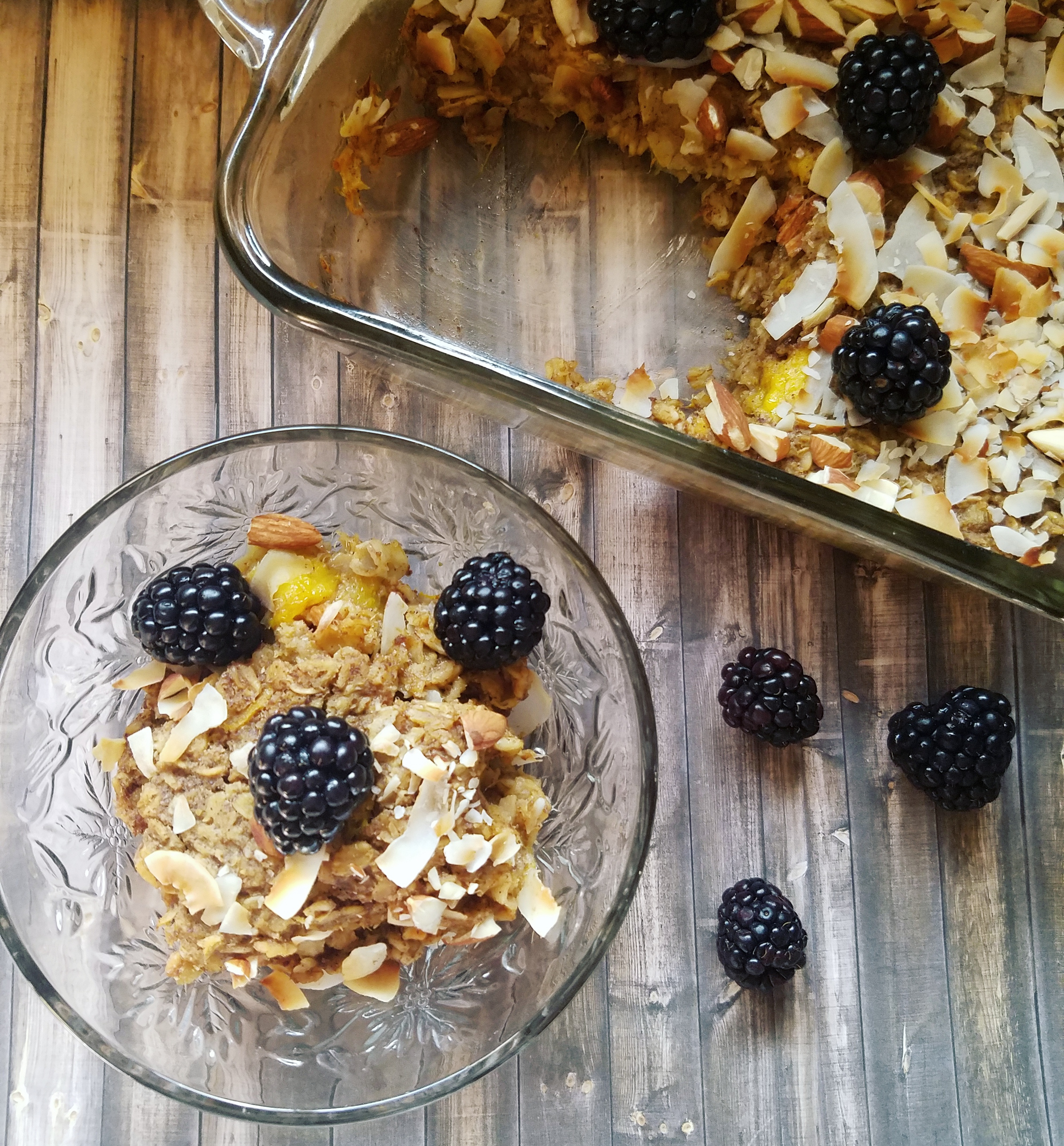 Mango blackberry coconut baked oatmeal