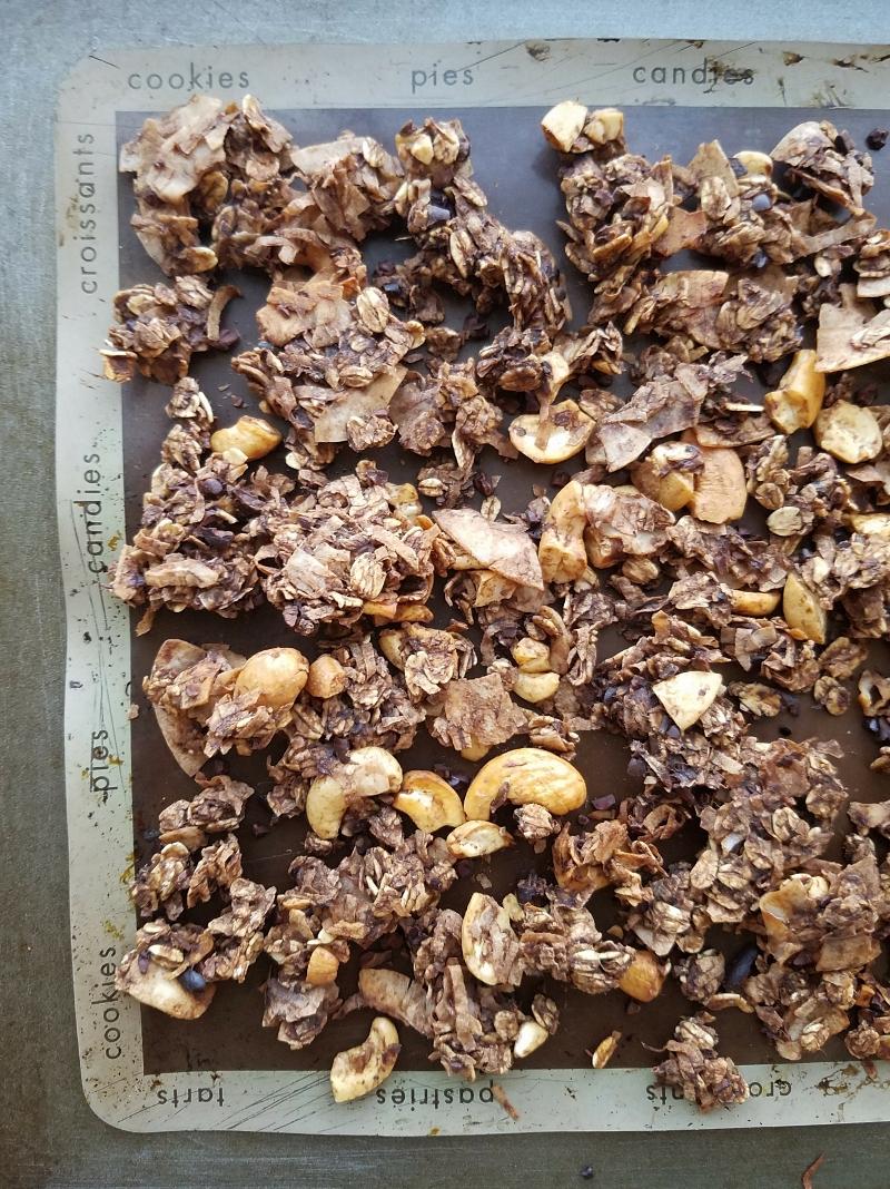 cocoa coconut rustic banana granola