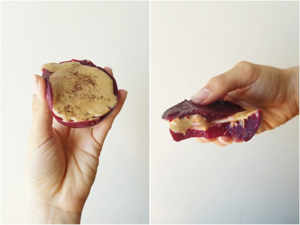 quick beet snack with peanut butter