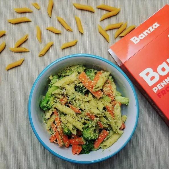broccoli carrot penne pesto pasta